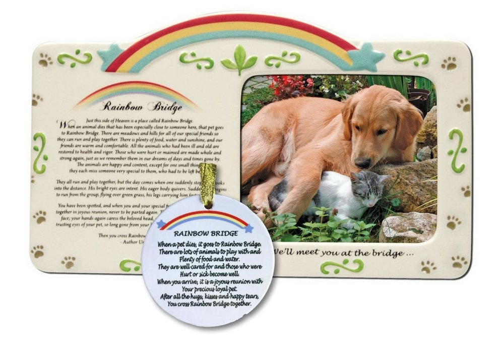 BANBERRY DESIGNS Rainbow Bridge Frame and Christmas Ornament - Pet Memorial Picture Frame and Ornament Set with The Rainbow Bridge Poem - Pet Remembrance