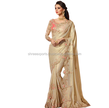 Beige Georgette Silk Party Wear Saree / Buy New Collections Saree Online / Shop Indian Silk Sarees Online