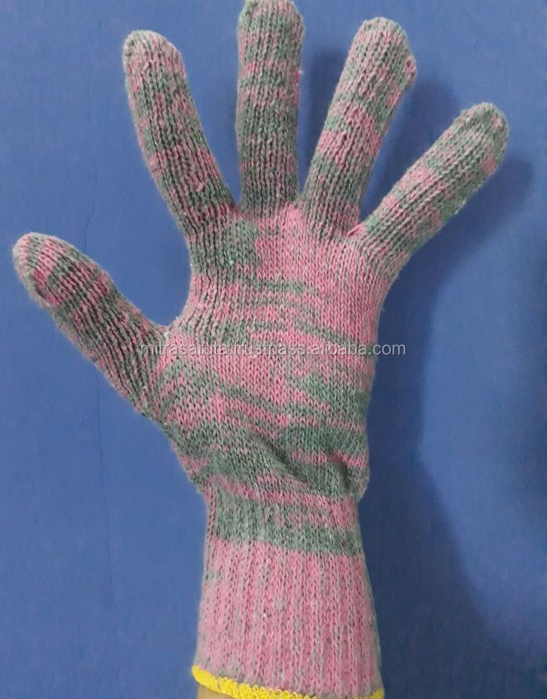 SAFETY STRIPPED PINK COLOR COTTON KNITTED HAND GLOVE FOR WOMEN