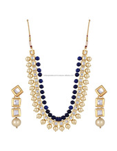 Fashion jewelry kundan pearl stylish fancy wedding party wear jewellery set
