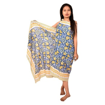 Indian hand block floral printed scarf soft cotton sarong women beach wear bikini cover ups wholesale