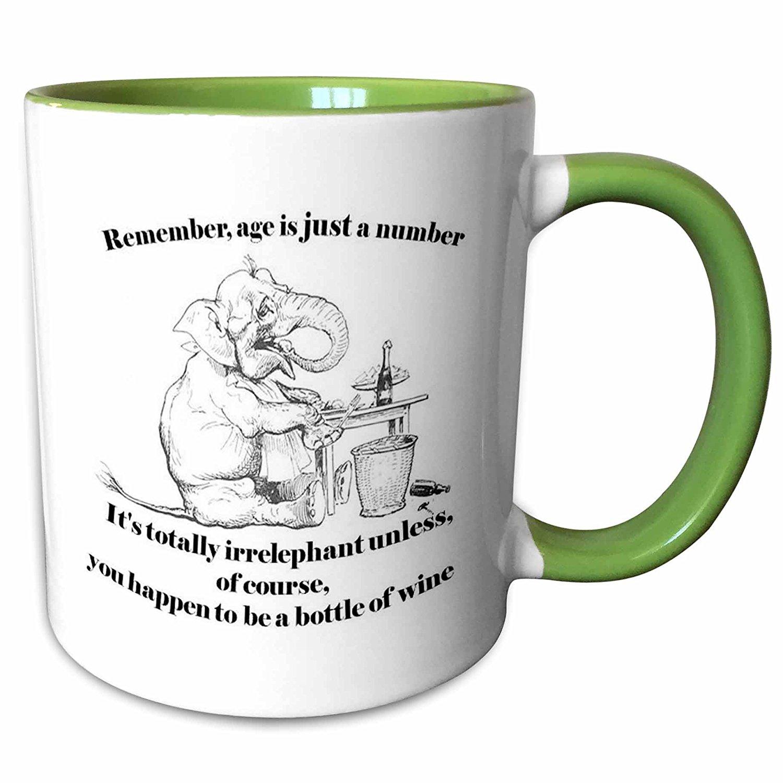 3dRose Taiche - Illustration - Elephant - Birthday- irrelephant, elephant, cute, wine, age, birthday, greeting, birthday card, funny birthday - 11oz Two-Tone Green Mug (mug_78686_7)