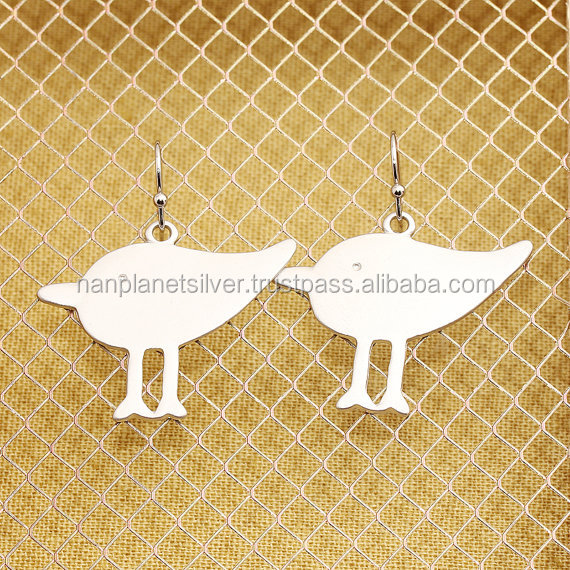 Sterling Silver Gold Baby Bird Charm Earrings