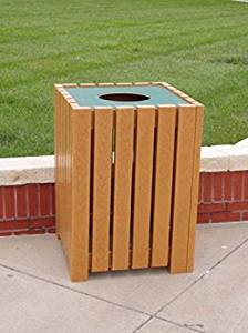 "Jayhawk Plastics Heavy-Duty Square 32 Gallon Trash Receptacle Made With Twenty-Four 2"" X 4"" Recycled Plastic Slats - Cedar"