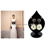 Awesome Fine Latest Trendy Off White Color Solar Agate Stone 24k Black Gold Plated Druzy Stud Girls/Women Earrings