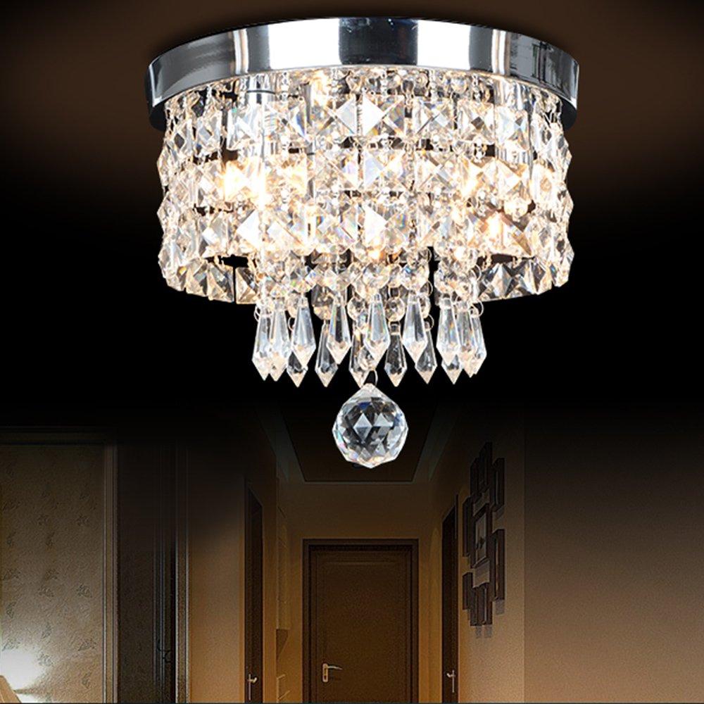 Boshen LED Modern Pendant Ceiling Light Flush Crystal Chandelier Light Fixture for Hallway, Aisle, Bedroom, Dining Room, Living Room, 12W SMD LED Warm Light