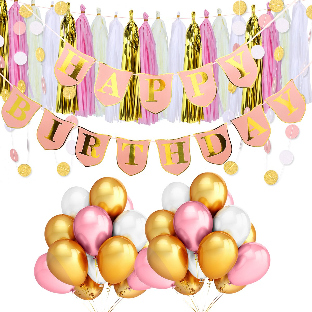 TeePolly Pink Happy Birthday Banner,Gold & Pink & White Balloons,Tissue Tassel Garland,Paper Polka Dot Banners for Party Decorations