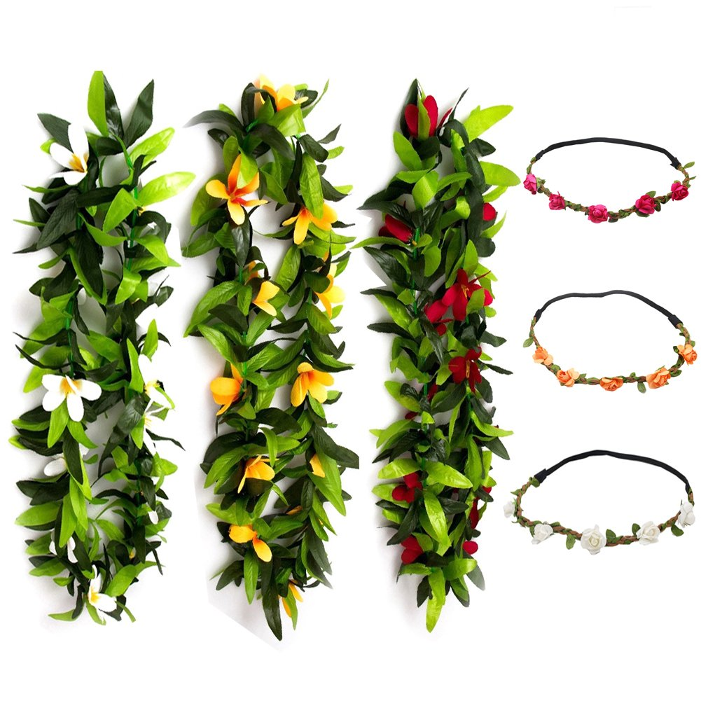 Hawaiian Party Supplies Hawaiian Leis with Hawaiian Flower 16pcs Perfect