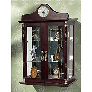 Get Quotations Wall Mounted Curio Cabinet Gl Display Shelves Lighted Case Corner Oak Furniture Doors Wood Storage
