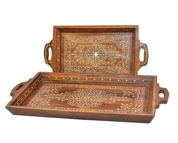 6c3e1c47c51f Wooden Handmade Tray Set, Custom Made Rosewood Serving Tray, Pakistani  Handcrafted Wooden Serving Tray