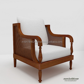 Rattan Cane Back Living Room Arm Chairs