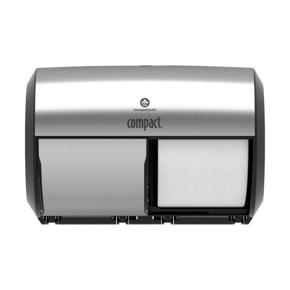 Georgia-Pacific Side-By-Side Double Roll Toilet Paper Dispenser, Stainless Finish