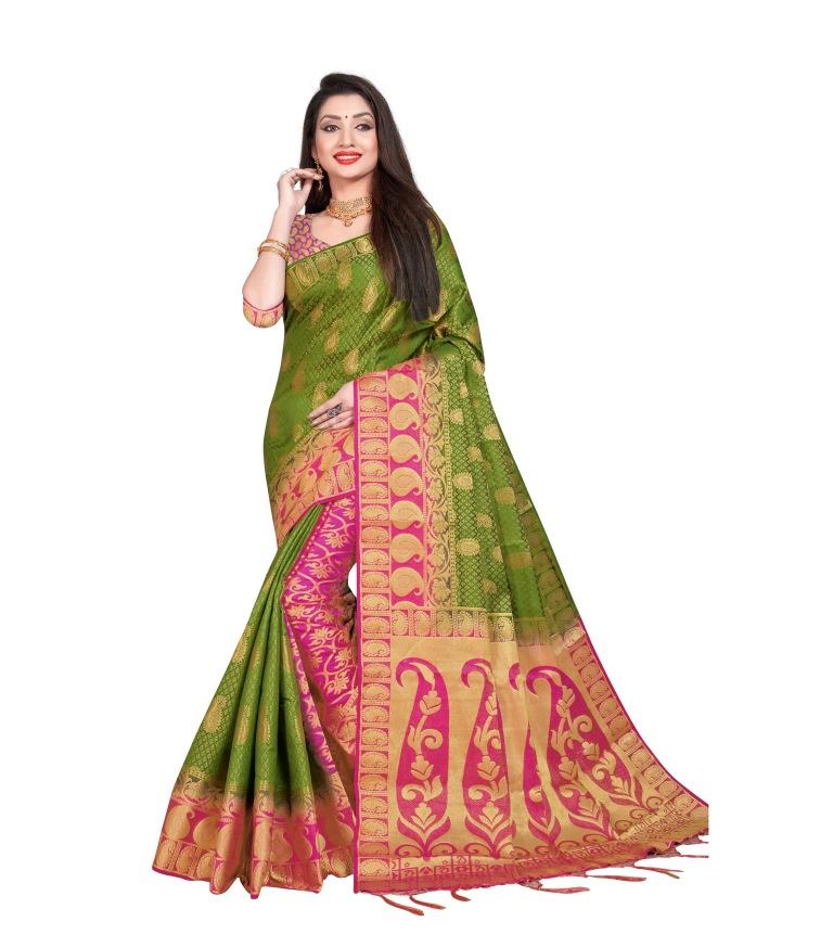 Indian Pakistani Saree Silk Jecard Work Sari Bridal Wedding Party Wear Blouse A