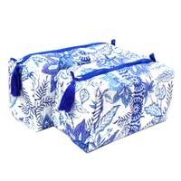 Bossanova blue open hand block printed toiletry bag coin purse cosmetic bag set of two ouilted bags