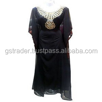 Top Market Selling HI FASHION Beach luxury beaded tunic chiffon./Dubai very fancy kaftan./Most popular abaya kaftan Dress