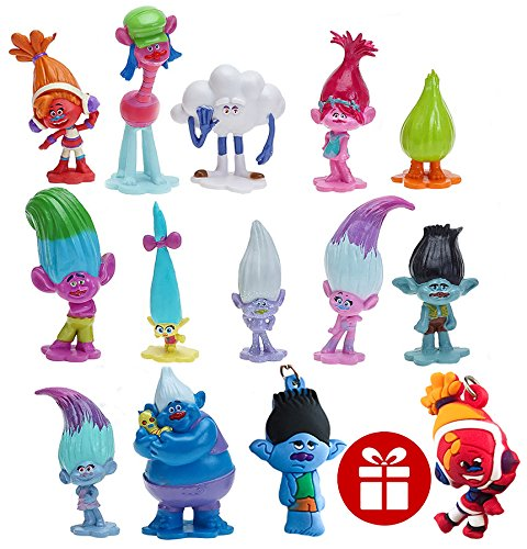 164373fb Get Quotations · PantShop Trolls dolls Set of 12pcs and 2pcs Keychains, Trolls Cake Decorating Set,DreamWorks
