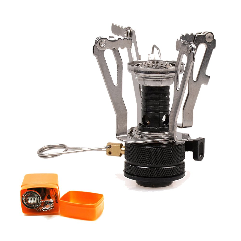 Camping Stoves , AYAMAYA Mini Ultralight Portable Pocket Backpacking Stove Camping Collapsible Stoves with Piezo Ignition, Butane / Butane Propane Burner 3000W