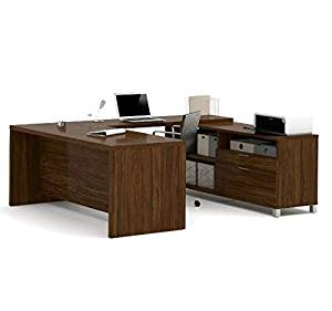 "Bestar U-Shaped Desk 71""W X 89""D X 29.75""H Features 1.5"" Commercial Grade Work Surface W/Melamine Finish - Oakbarrel"