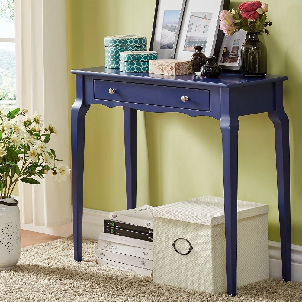 iNSPIRE Q Modern Daniella 1-drawer Wood Accent Console Accent Console Entryway Sofa Table Desk Bold Twilight Blue