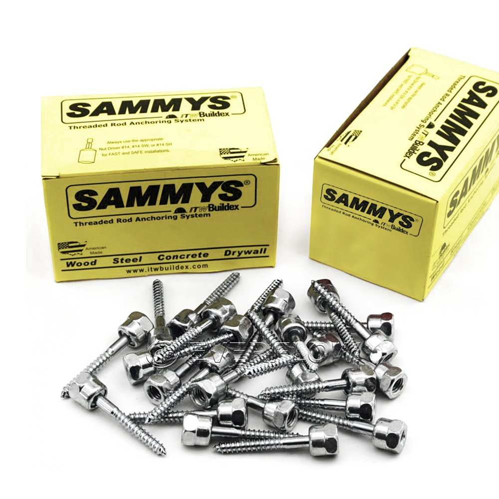 Everflow Sammys 8010957-50 GST 30 3/8 Inch Screw Vertical Threaded Rod Anchor Designed for Wood, Easy to Use, No Pre-Drilling Required, Steel with Zinc Finish, 1/4 x 3 Inch Screw Length - (Pack of 50)