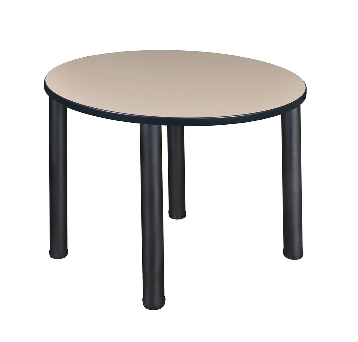 """Regency Seating Kee 36"""" Round Breakroom Table- Beige/Black"""