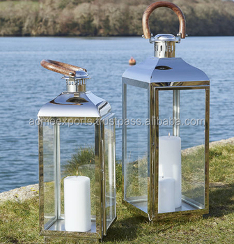 Lantern Set of 2 Piece Big and Small in Stainless Steel Metal