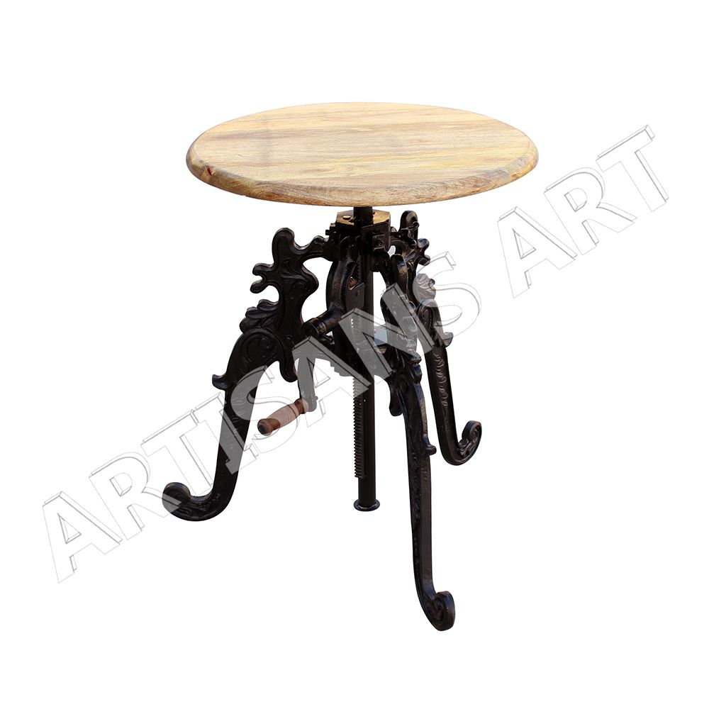 Industrial cast iron with natural wood top crank wind up table industrial cast iron with natural wood top crank wind up table cafe cast iron furniture geotapseo Image collections