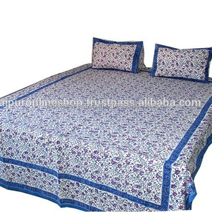 Buy Cotton Hand made indian 100% Cotton Double Bed Sheet Set King Size Bedspread from India