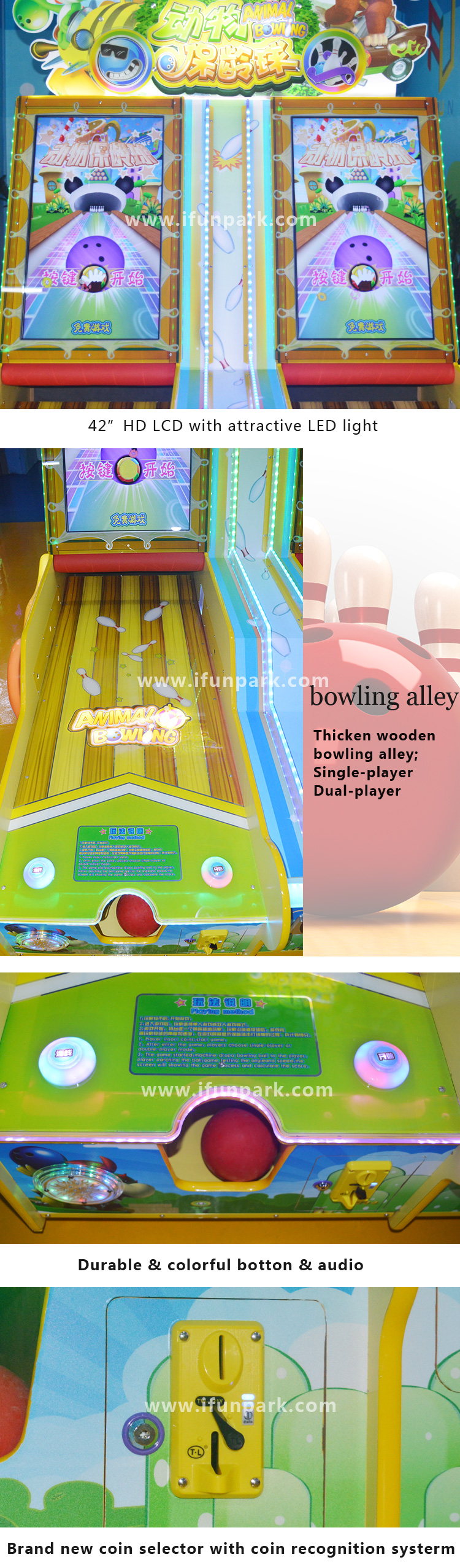 Game Center 32inch HD LCD cricket bowling ticket redemption game machine for sale