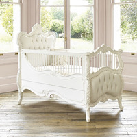 IN STOCK - Luxury exclusive French Rococo white hand carved cot bed