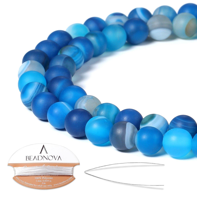 BEADNOVA 6mm Matte Blue Stripe Agate Gemstone Round Loose Beads for Jewelry Making (63-65pcs)