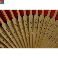 Paper Bamboo Blank Hand Fans With Rib Silk Screen Printing