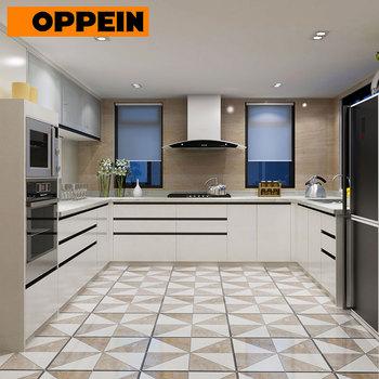 India Proyek Sederhana Putih Pvc Modern U Berbentuk Rumah Dapur Kabinet Furniture Set