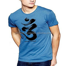 Turquoise color tshirt printed om in front smart t-shirt short sleeves t shirt