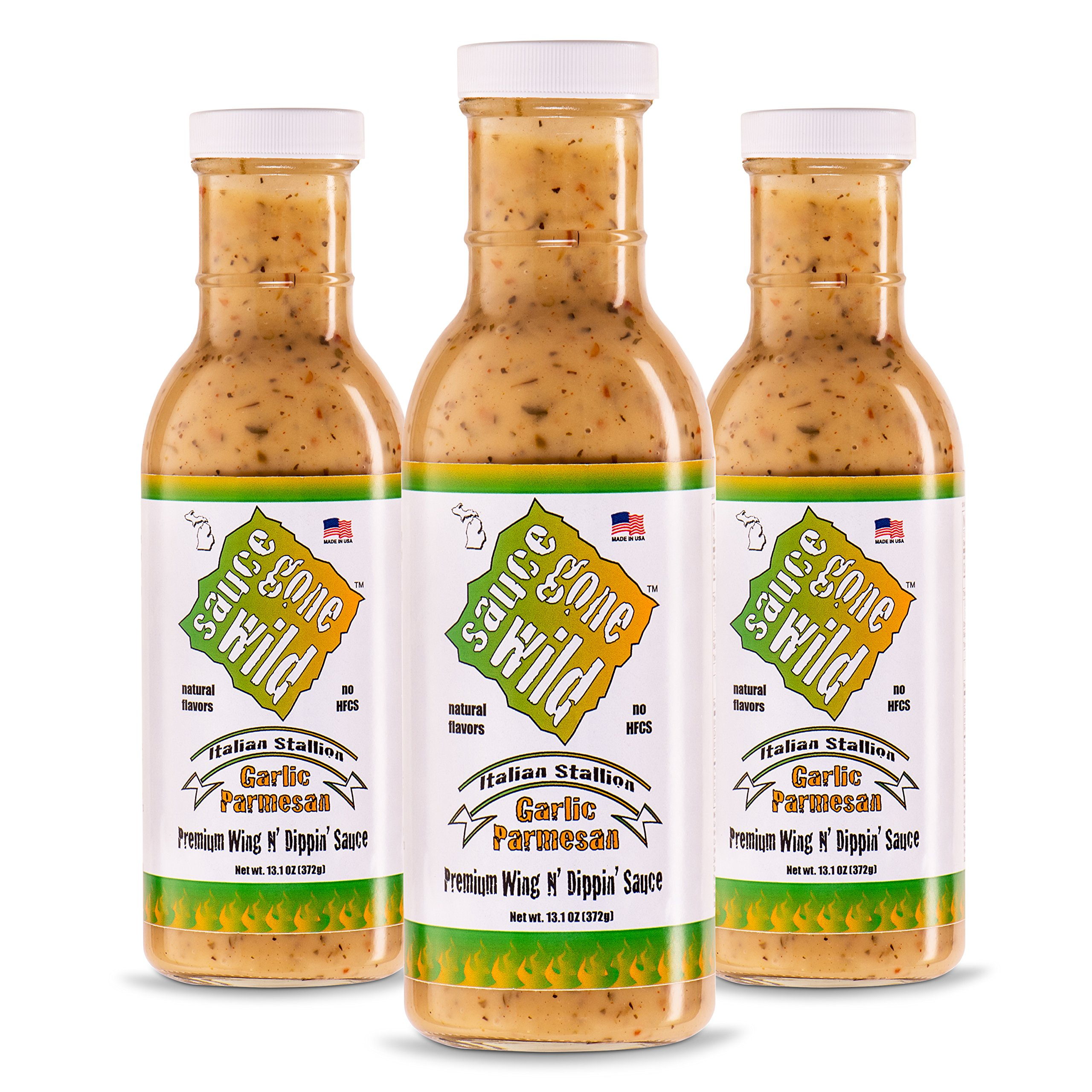 Sauce Gone Wild Wing Sauce -13.1oz - 3 Bottles - Garlic Parmesan Flavor - Hot Marinade for Grilling & Cooking Chicken - Made in USA - Tasty Restaurant Style Wings at Home