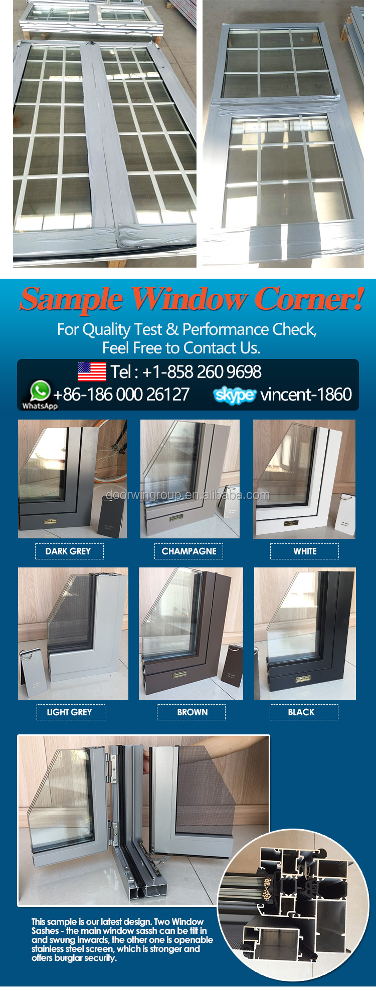 New York burglar proof top hung aluminum seamless welding joints technique awning windows