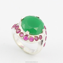 Vendendo Hot 925 Sterling Silver <span class=keywords><strong>Ruby</strong></span> Emerald Anel Artesanal
