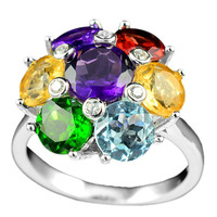 Heavenly natural multi gemstone ring wholesale jewelry 925 sterling silver prong setting ring supplier