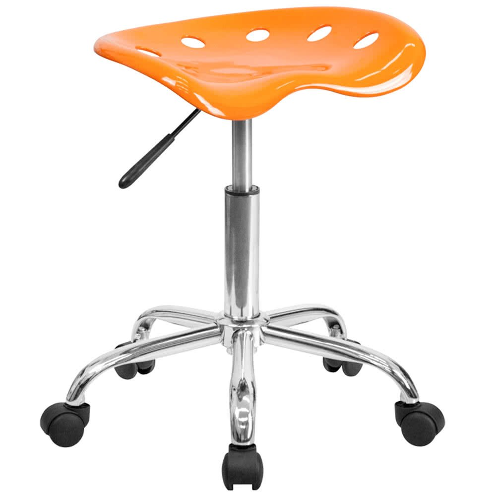 Orange Office Stool with Tractor Seat and Chrome Frame By TableTop king