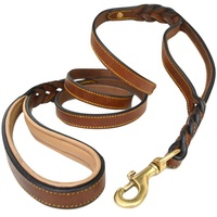 Luxury colorful Genuine Leather dog collar For Large Dog Genuine Leather dog collar