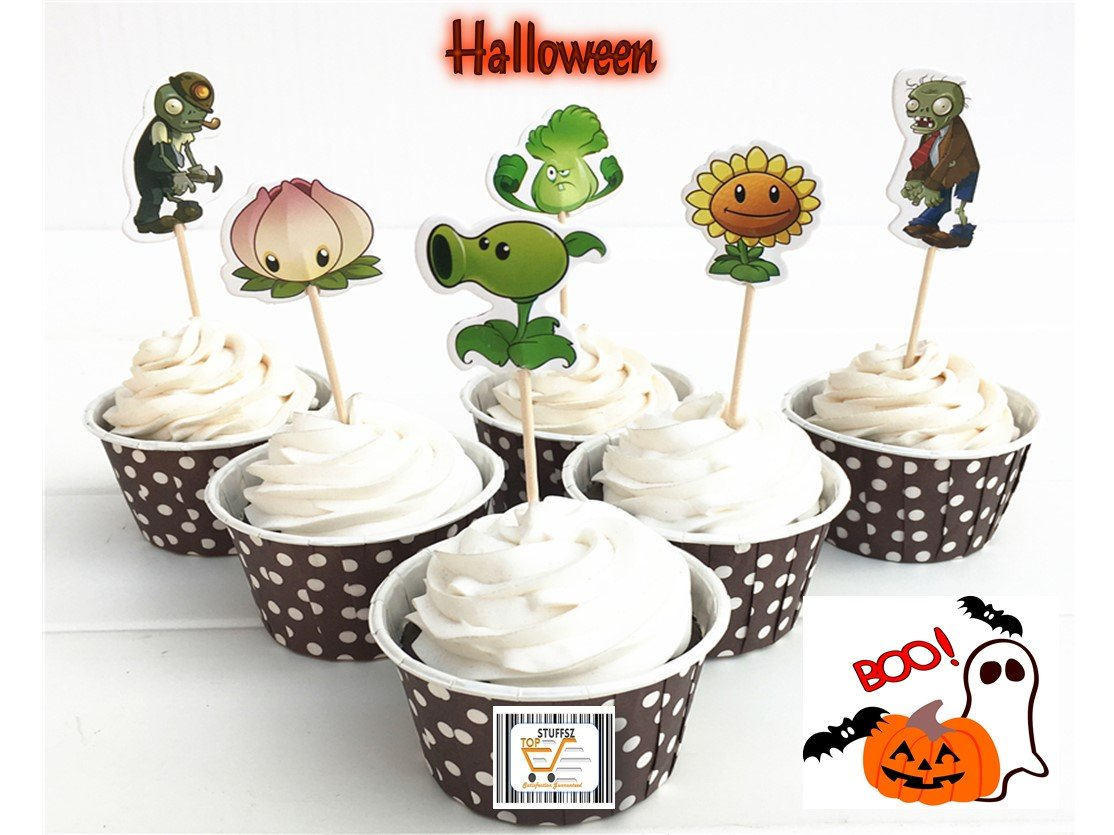 Plants vs. Zombies Cupcake toppers ,Halloween, Birthday, event Parties Favors for Kids & Adults CupCake Accessory Decoration Supplies, (Serve 24)