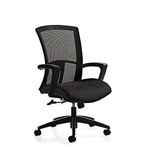 """Global High Back Office Chair Overall Dimensions: 25.5""""W X 24""""D X 39.25""""H Seat Dimensions: 20""""W X 17.5""""D X 16-20""""H Back Dimensions: 18.5""""W X 23""""H - Black - Granite Rock"""