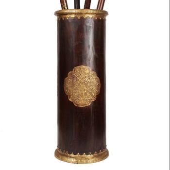 Umbrella Stand Designs : Antique handmade wooden umbrella stand holder with embossed brass