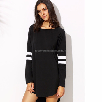 ad93f4ac231 Tshirt Dress Top Frock Black Long Sleeves Customize Printed Cute High  Quality 100% Cotton Casual