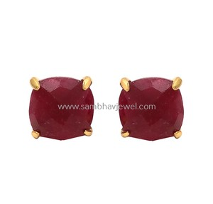wholesale jewelry ear stud handmade 925 sterling silver dyed ruby gemstone gold plated ear studs