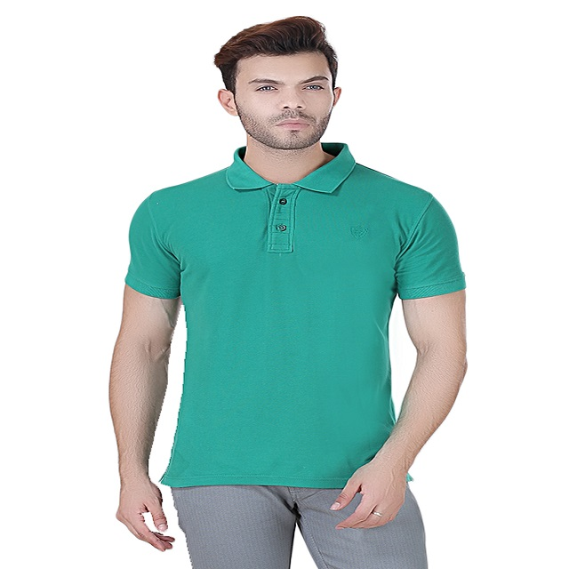 Embroided SOLID Green POLO T-SHIRT