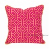Wholesale Decorative Custom Embroidered Backrest Cushion Cover For Sofa, Hand made Designer Pink Pillow cover for Home decor