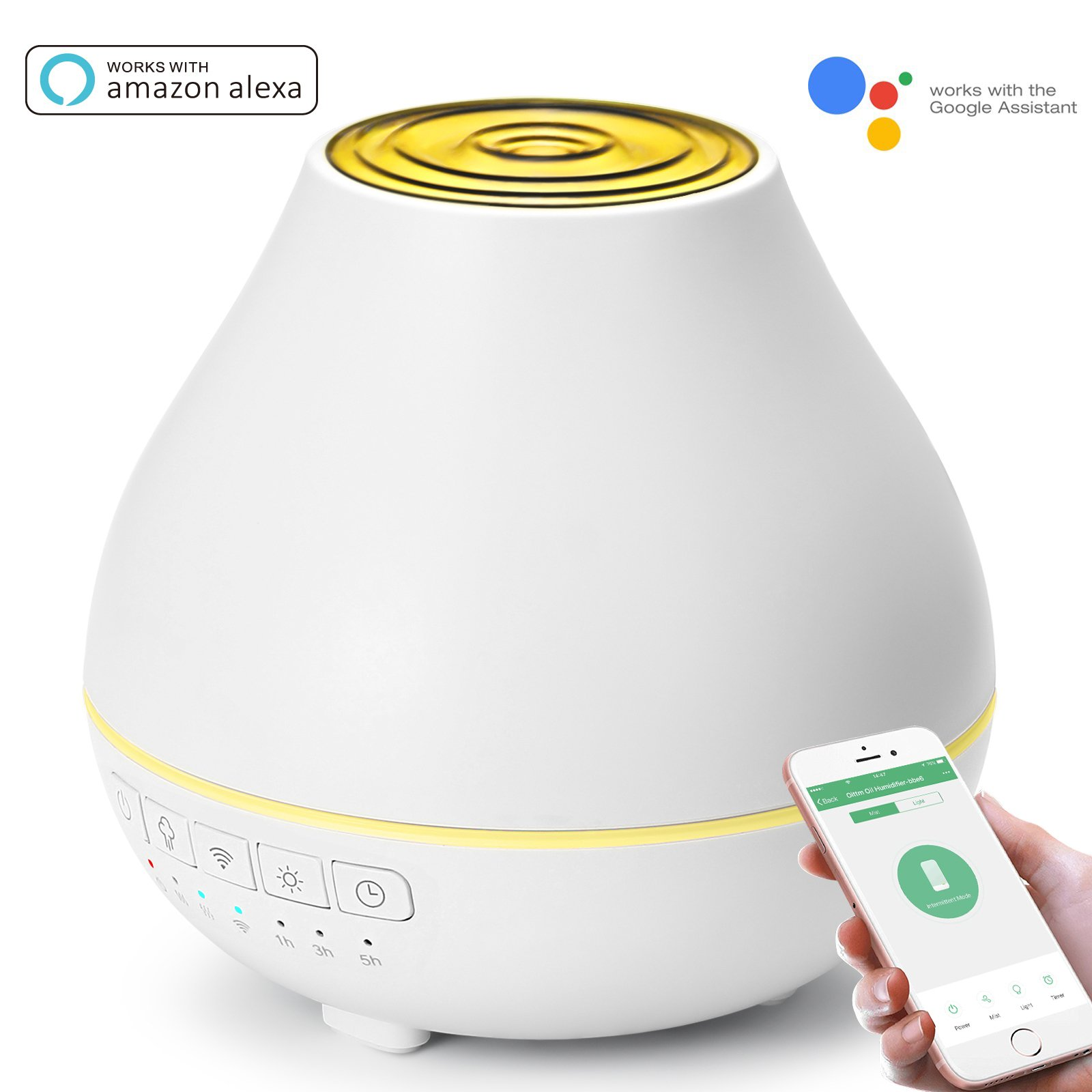 Oittm Smart Aroma Essential Oil Diffuser Wifi Humidifier, Works with Alexa, Google Assistant and Phones App, 200ml Ultrasonic Adjustable Mist Waterless Auto Shut-off 7 Color LED Lights & Timing