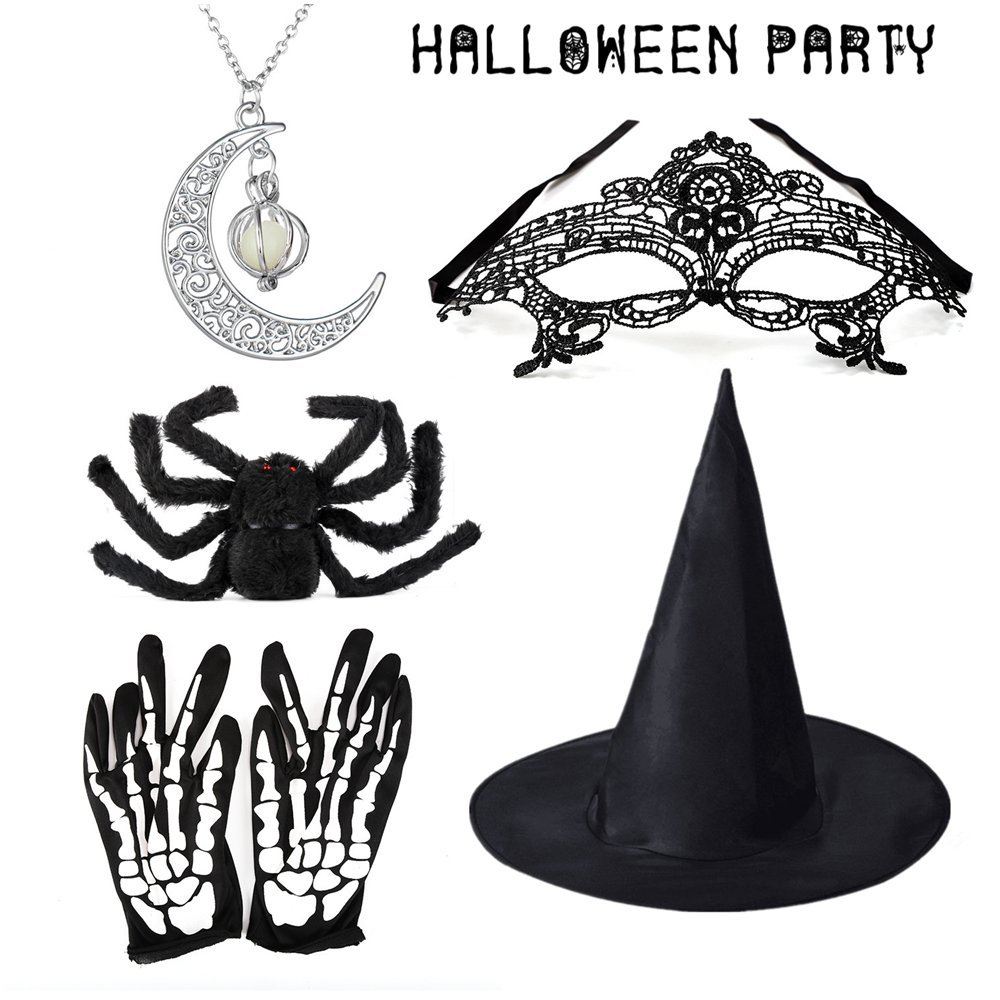 Halloween Prop kits,Witch Hat/Glowing Necklace/Black Spider/Mask/Skeleton Gloves