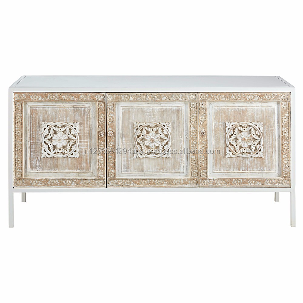 Rustic Wooden Three Doors Carved White Wash Sideboard